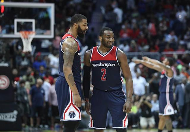 John Wall porte les Wizards/Photo prise le 29 avril 2017/REUTERS/USA Today Sports