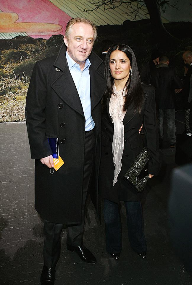 "Salma Hayek and her hubby, multi-millionaire Francois-Henri Pinault, posed for a quick picture post show. Tony Barson/<a href=""http://www.wireimage.com"" target=""new"">WireImage.com</a> - March 9, 2009"