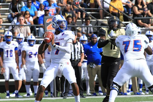Tennessee State QB Demry Croft stands accused of raping a woman on campus. (Getty)