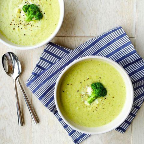 "<p>Greek yogurt gives this creamy favourite a lighter, tangy twist.</p><p>Get the <a href=""https://www.delish.com/uk/cooking/recipes/a28785808/creamy-broccoli-cheddar-soup-recipe/"" target=""_blank"">Broccoli And Cheddar Soup</a> recipe.</p>"