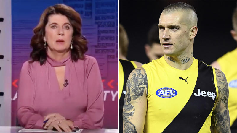 Veteran AFL reporter Caroline Wilson (pictured left) took aim at Richmond (Dustin Marin pictured right) after a lacklustre restart. (Fox Footy Classified/Getty Images)