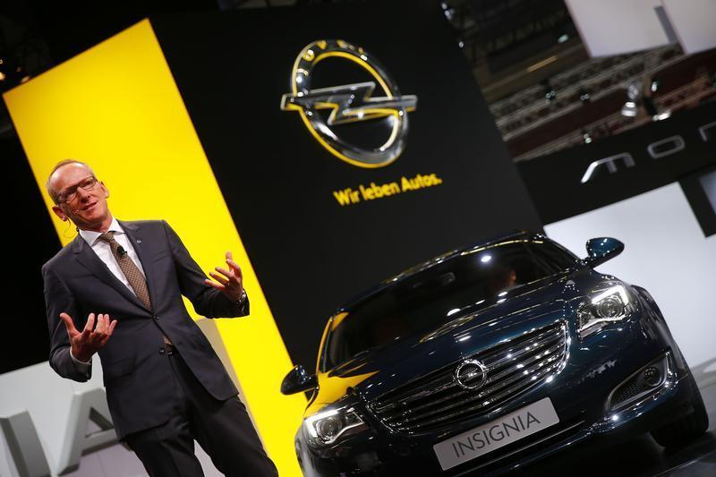 Neumann CEO of Adam Opel AG presents the new Opel Insignia car at Frankfurt Motor Show