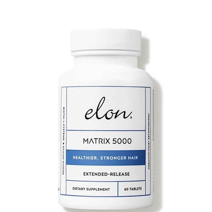 """<p><strong>Elon</strong></p><p>dermstore.com</p><p><strong>$29.99</strong></p><p><a href=""""https://go.redirectingat.com?id=74968X1596630&url=https%3A%2F%2Fwww.dermstore.com%2Felon-matrix-5000-vitamins-for-hair-60-tablets%2F12901221.html&sref=https%3A%2F%2Fwww.elle.com%2Fbeauty%2Fg31099887%2Fbest-hair-growth-vitamins%2F"""" rel=""""nofollow noopener"""" target=""""_blank"""" data-ylk=""""slk:Shop Now"""" class=""""link rapid-noclick-resp"""">Shop Now</a></p><p>Elon's Matrix 5000 comes with a super high dose of biotin to support hair and nail growth. If you suffer from dry or brittle hair and nails, this is the supplement for you. </p>"""