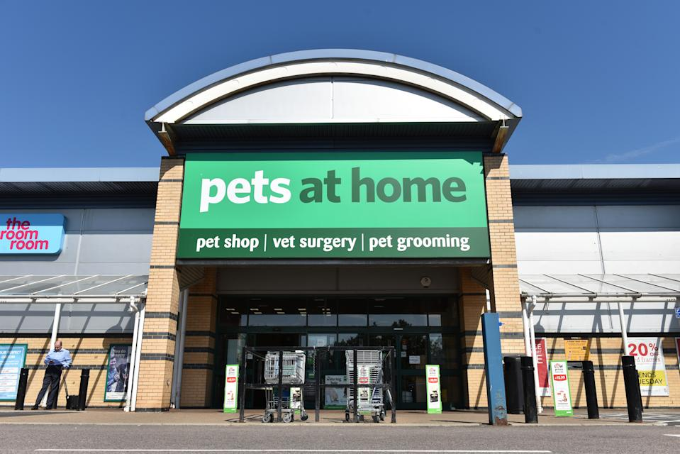 SOUTHEND ON SEA, ENGLAND - JULY 03: A general view of a Pets at Home pet shop, vet surgery and pet grooming retail outlet store on July 3, 2018 in Southend on Sea, England. (Photo by John Keeble/Getty Images)