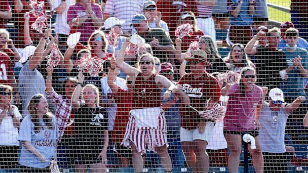 PHOTO: Alabama fans cheer during the SEC Championship Game in Rhoads Stadium, May 15, 2021, in Tuscaloosa, Ala. (Gary Cosby, Jr. via USA Today Network, FILE)
