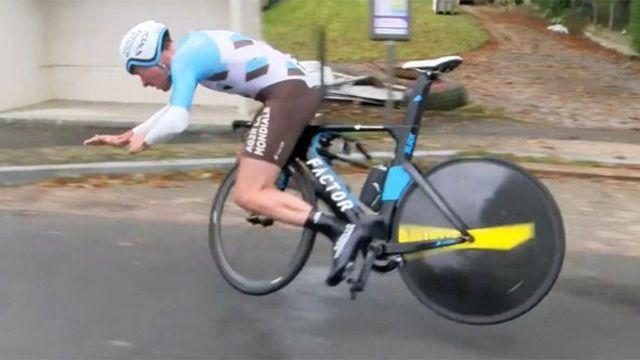 Roger goes over the front. Pic: Tour de Moselle