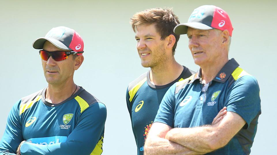 Greg Chappell is pictured right, alongside Aussie Test cricket captain Tim Paine and coach Justin Langer.