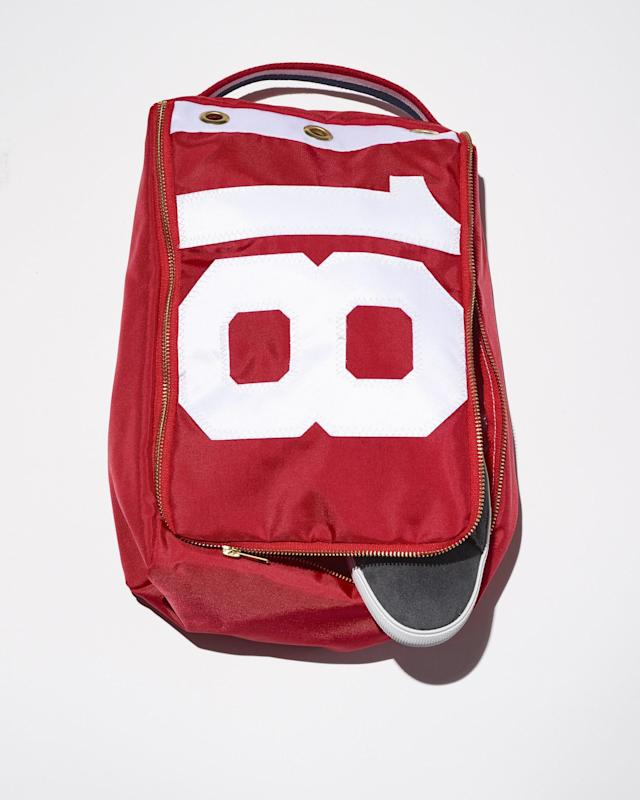 "<p>Made from actual golf flags, this unique shoe bag is lightweight and durable.</p> <p><strong><a href=""http://www.crabandcleek.com/flagstick-golf/flagstick-shoe-bag-red"" rel=""nofollow noopener"" target=""_blank"" data-ylk=""slk:crabandcleek.com"" class=""link rapid-noclick-resp"">crabandcleek.com</a></strong>/$50</p>"