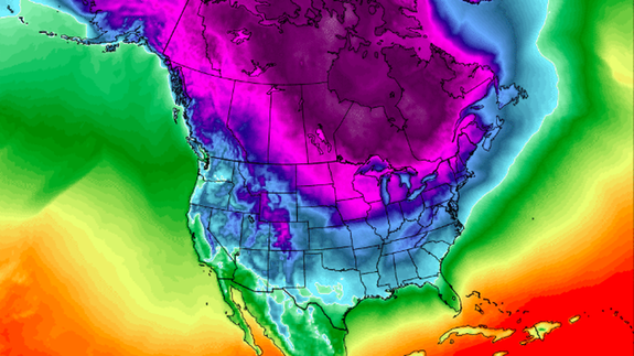 Temperature forecast for early February 2019.