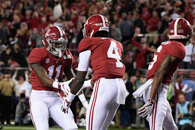 The Alabama trio of (left to right) Jerry Jeudy, Henry Ruggs III and DeVonta Smith all could go high in the 2020 NFL draft. (Photo by Harry How/Getty Images)