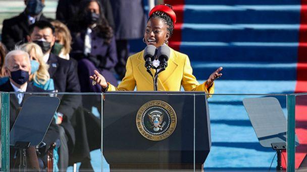 PHOTO: Youth Poet Laureate Amanda Gorman speaks at the inauguration of President Joe Biden on the West Front of the U.S. Capitol on Jan. 20, 2021, in Washington, D.C. (Rob Carr/Getty Images)