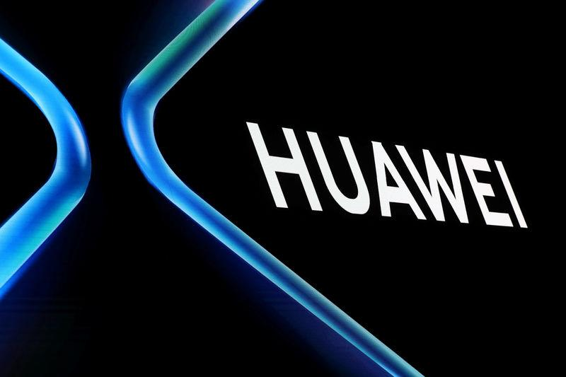 The Huawei logo is displayed ahead of the Mobile World Congress (MWC 19) in Barcelona