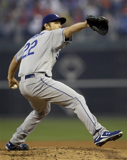 Los Angeles Dodgers' Clayton Kershaw pitches in the first inning of a baseball game against the Philadelphia Phillies, Monday, June 4, 2012, in Philadelphia. (AP Photo/Matt Slocum)