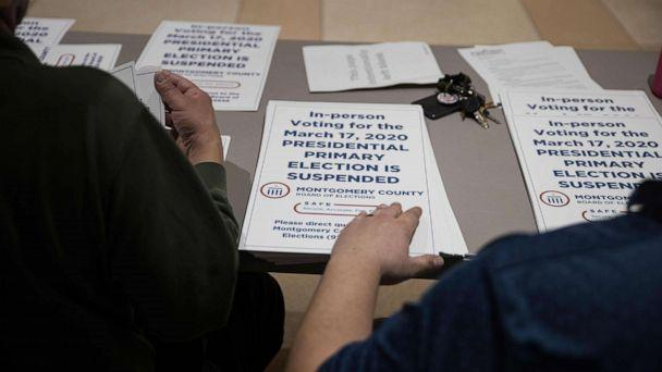 PHOTO: County election workers hand out election delayed signs to put up at polling stations in Dayton, Ohio, March 17, 2020, after the primaries were canceled. (Megan Jelinger/AFP/Getty Images)