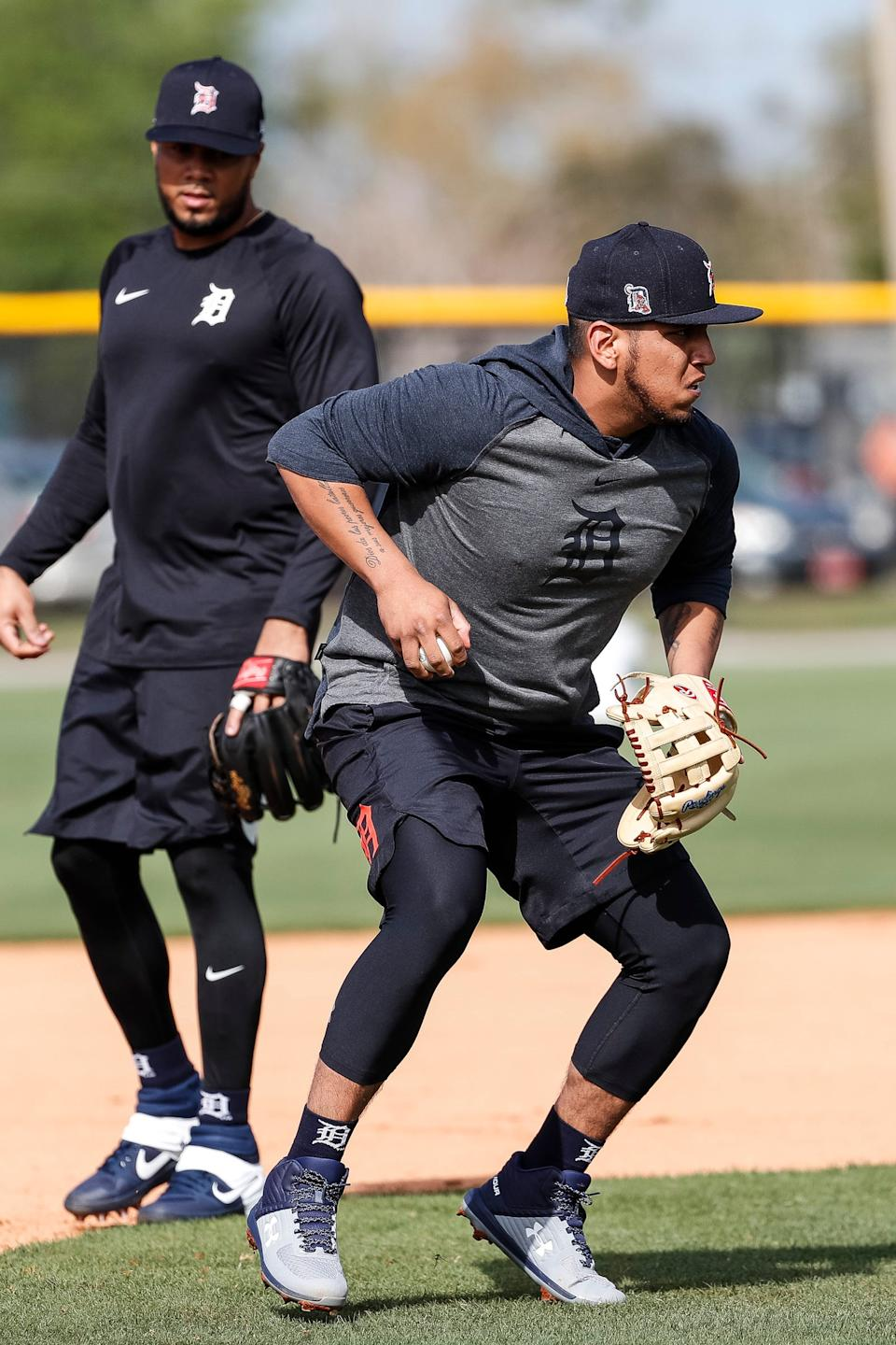 Infielder Isaac Paredes practices during Tigers spring training in Lakeland, Fla., on Feb. 15, 2020.
