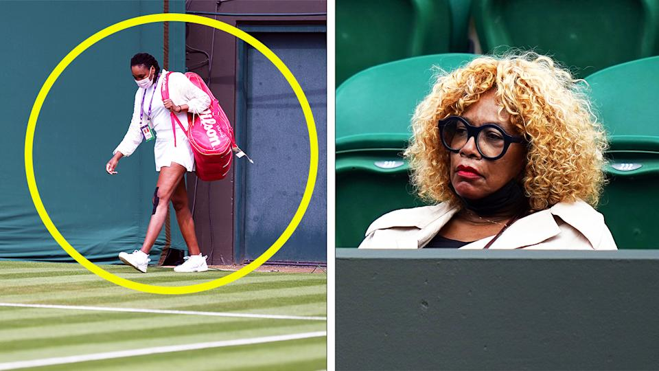 Five-time Wimbledon champion Venus Williams (pictured left) walking onto Court 3 and (pictured right) her mother Oracene Price watcing.