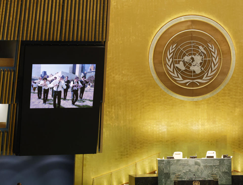 A music video of South Korean K-pop band BTS plays on the General Assembly Hall monitors during the United Nations meeting on Sustainable Development Goals at the 76th session of the U.N. General Assembly at U.N. headquarters on Monday, Sept. 20, 2021. (John Angelillo/Pool Photo via AP)