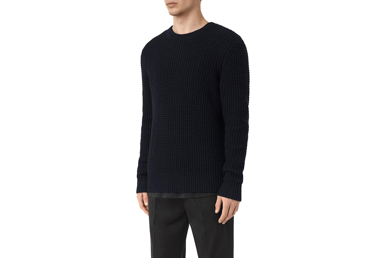 "$175, Allsaints. <a href=""https://www.us.allsaints.com/men/sweaters/allsaints-tornn-crew/?colour=3968&category=21747"">Get it now!</a>"