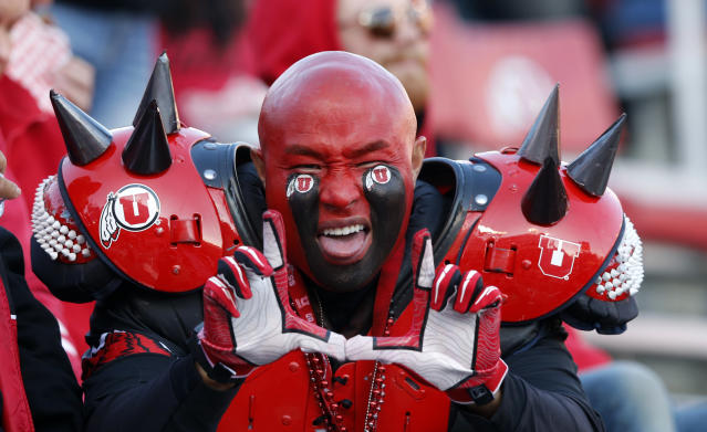 A Utah fan shows his support in the first half during an NCAA college football game against Oregon Saturday Nov. 10, 2018, in Salt Lake City. (AP Photo/Rick Bowmer)
