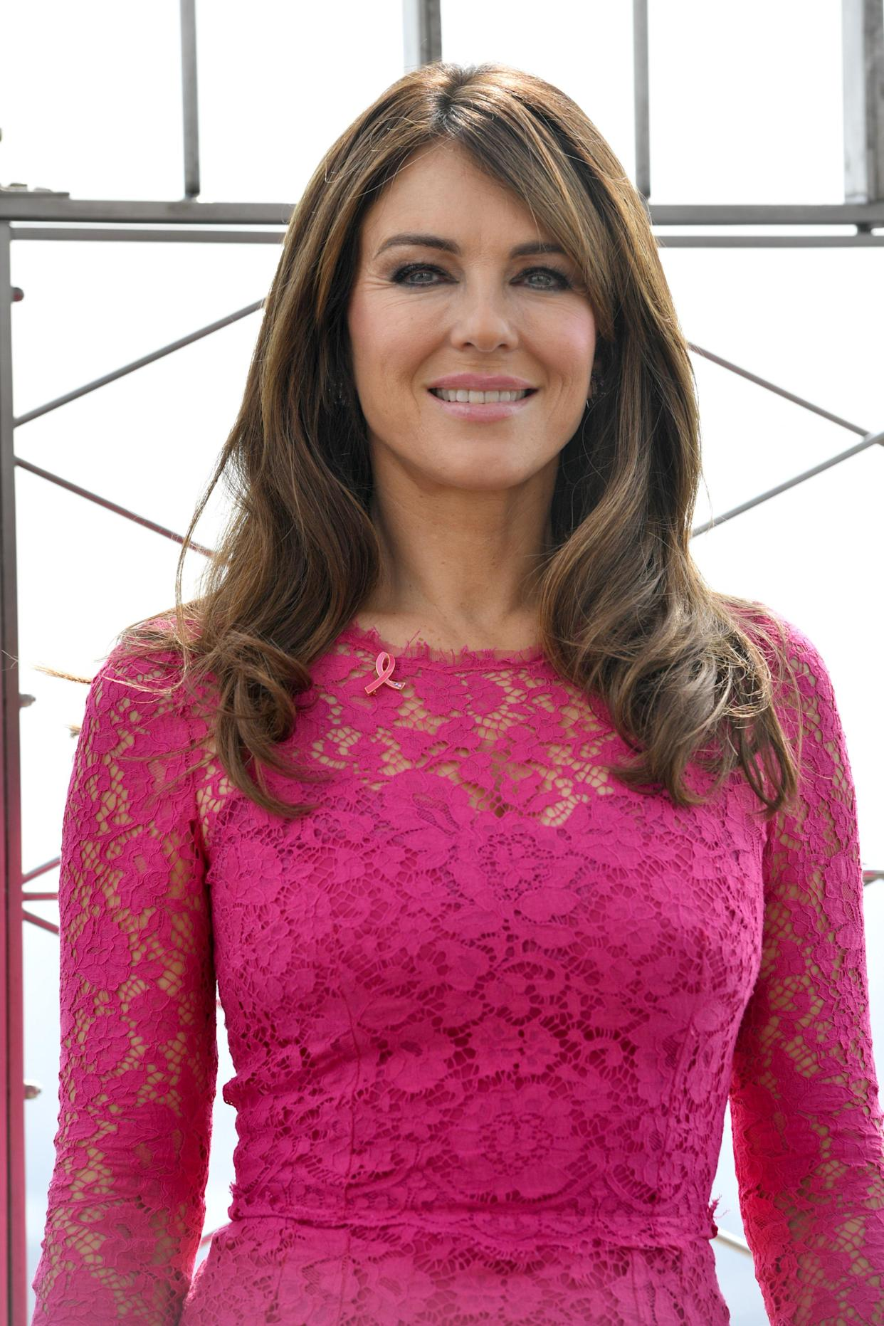 Elizabeth Hurley attends the ceremonial lighting of the Empire State Building in Pink For Breast Cancer Awareness Campaignin New York, NY, October 1, 2019. (Photo by Anthony Behar/Sipa USA)