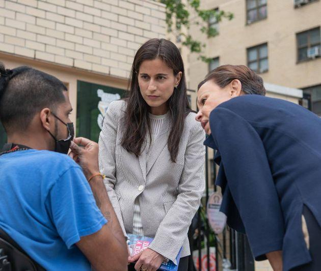 Tali Farhadian Weinstein, seen here campaigning with Rep. Nydia Velázquez, has leveraged a massive cash advantage to front-runner status in the Democratic primary for Manhattan district attorney. (Photo: Tali Farhadian Weinstein for DA)