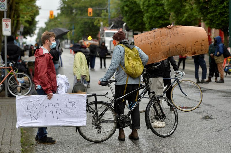 FILE PHOTO: Supporters of Black Lives Matter maintain a roadblock in Vancouver