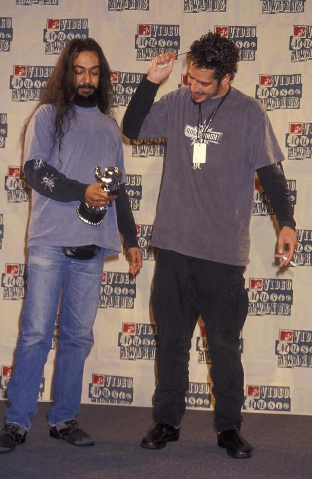 <p>Kim Thayil and Chris Cornell of Soundgarden on September 8, 1994 at Radio City Music Hall in New York City.<br>(Photo by Ron Galella, Ltd./WireImage) </p>