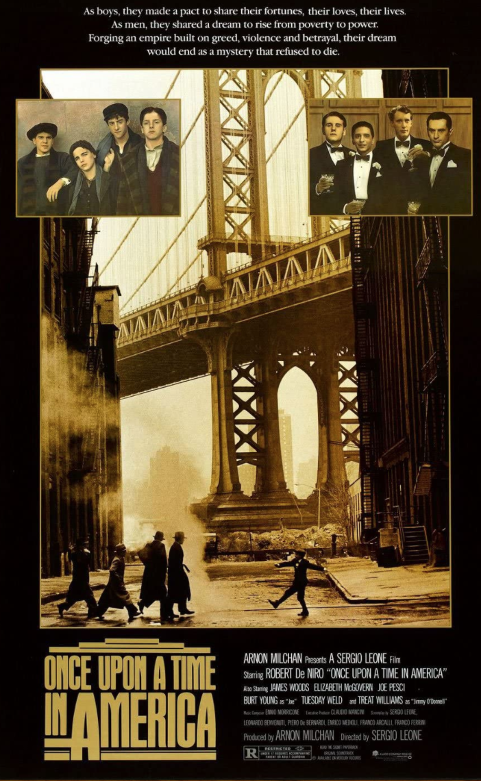 """<p>The Coen brothers do a gangster film, and here, legendary spaghetti western director Sergio Leone does a gangster film. <em>Once Upon a Time in America</em> would be Leone's last film after a long hiatus. The swan song is a masterpiece, a violent epic poem put to screen, and well worth the extended run time. You're gonna wanna watch the director's cut here, trust us. </p><p><a class=""""link rapid-noclick-resp"""" href=""""https://www.amazon.com/Once-Upon-Time-America-Pesci/dp/B008Q0CB8U/ref=sr_1_1?dchild=1&keywords=Once+Upon+a+Time+in+America&qid=1619533717&s=instant-video&sr=1-1&tag=syn-yahoo-20&ascsubtag=%5Bartid%7C2139.g.36133257%5Bsrc%7Cyahoo-us"""" rel=""""nofollow noopener"""" target=""""_blank"""" data-ylk=""""slk:STREAM IT HERE"""">STREAM IT HERE</a></p>"""