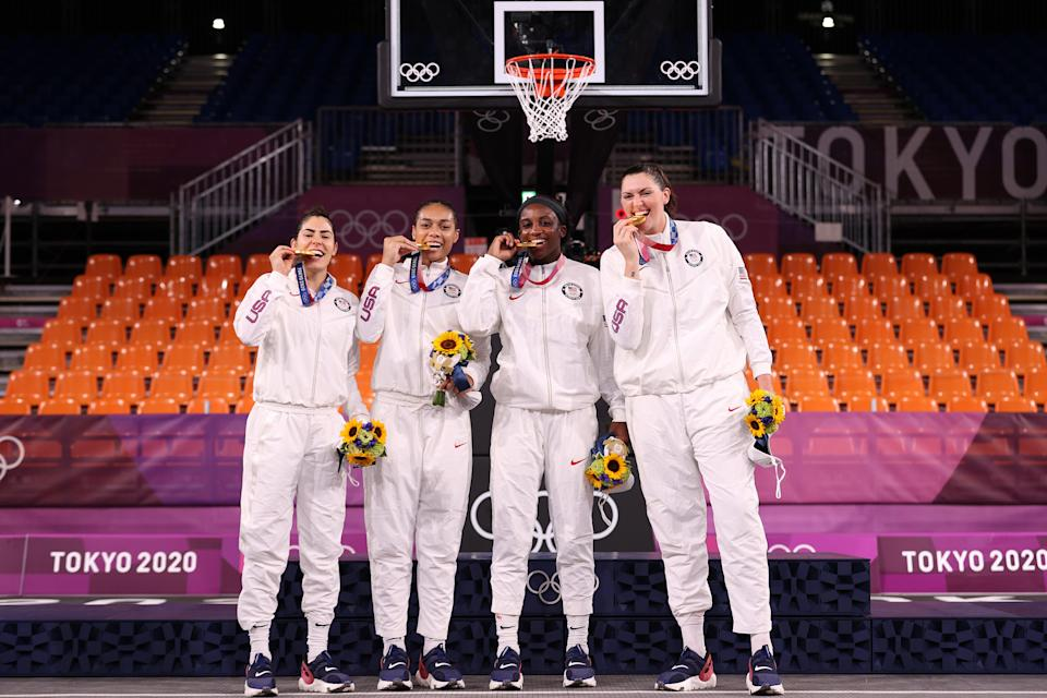 Team USA celebrate victory in the women's 3x3 final (Getty)
