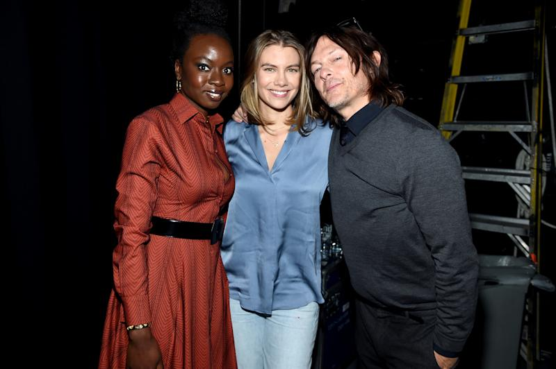 NEW YORK, NEW YORK - OCTOBER 05: (L-R) Danai Gurira, Lauren Cohan, and Norman Reedus pose backstage at a panel for AMC's The Walking Dead Universe including AMC's flagship series and the untitled new third series within The Walking Dead franchise at Hulu Theater at Madison Square Garden on October 05, 2019 in New York City. (Photo by Jamie McCarthy/Getty Images for AMC)
