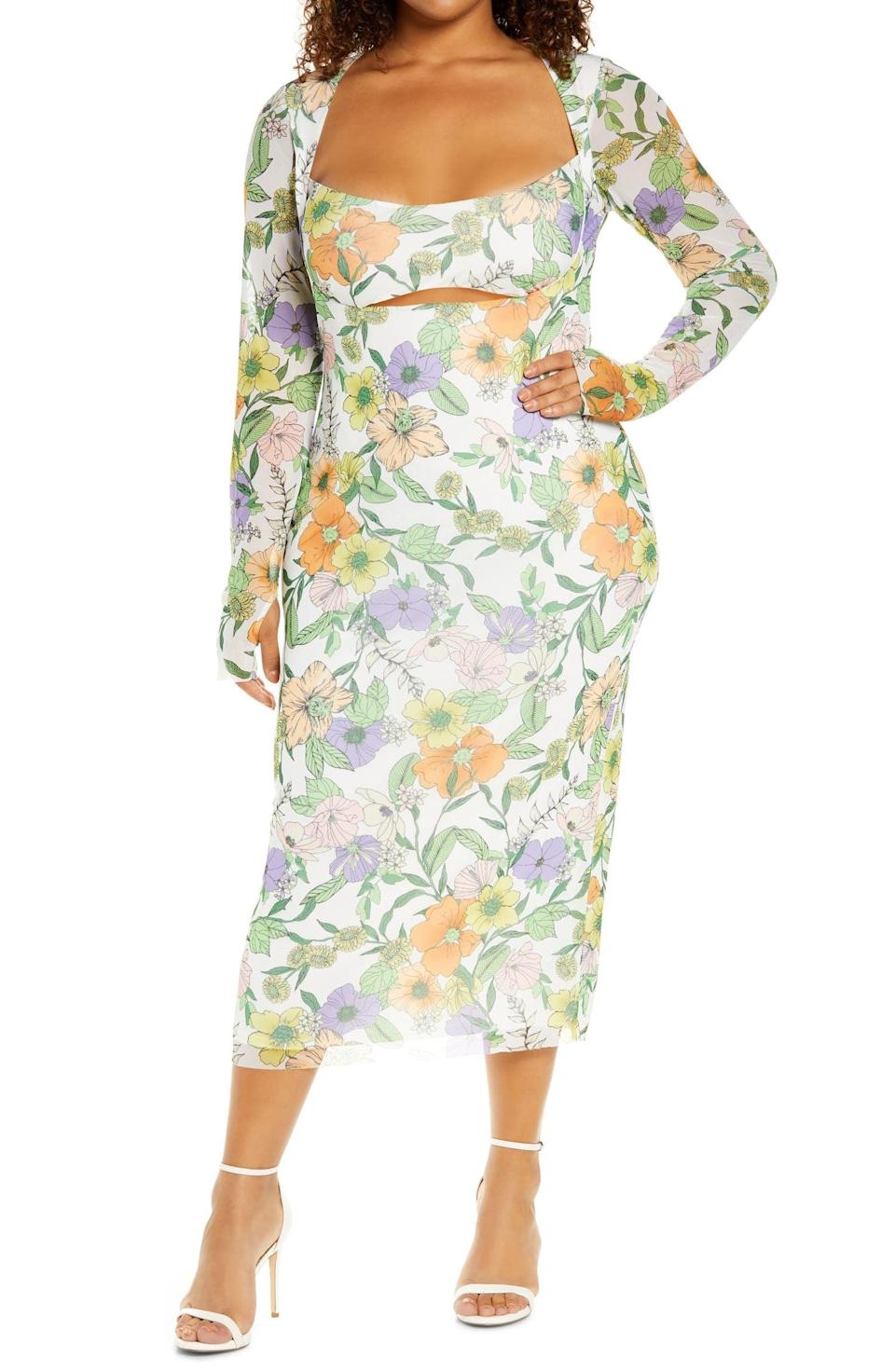<p>When wearing this <span>Kellen Cutout Midi Dress</span> ($50, originally $88), keep everything else pared down since it makes such a loud floral statement. Pair it with a simple chain and some minimal heels.</p>