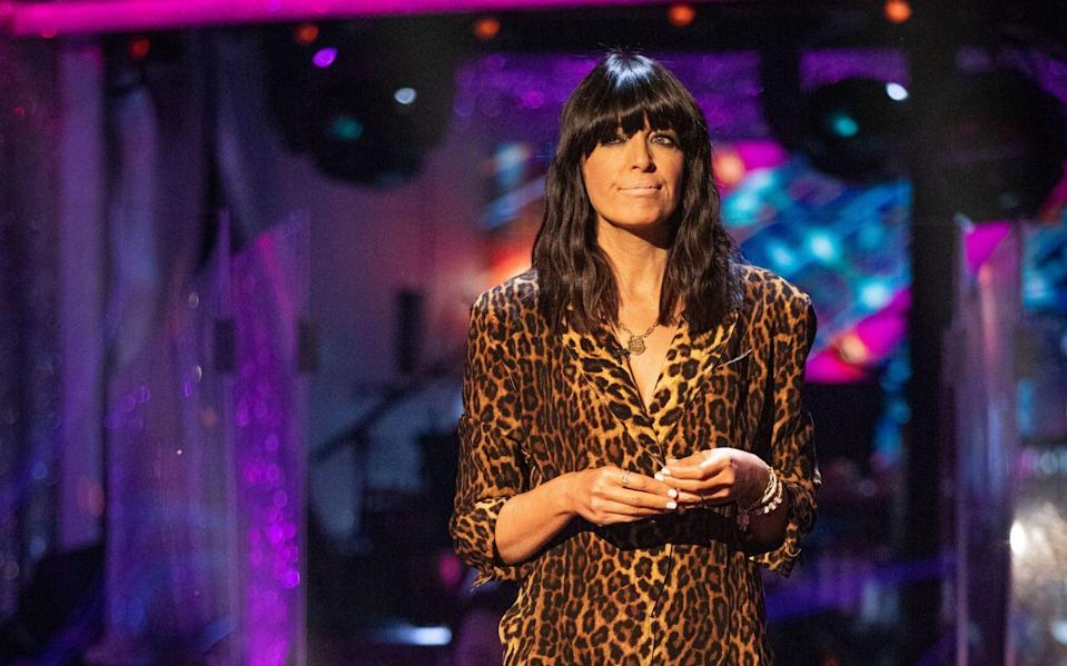 Claudia Winkleman wearing a leopard print Norma Kamali jumpsuit on Strictly - PA