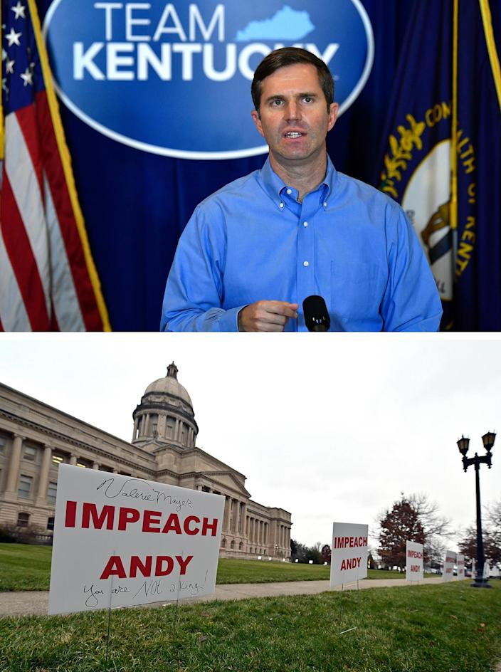 Signs (below) promoting the impeachment of Kentucky Gov. Andy Beshear (above) line the walkway and lawn of the State Capitol building in Frankfort, Ky., on Jan. 5, 2021.