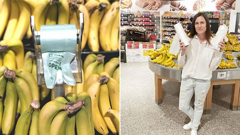 Anita Horan, an Australian plastic reduction activist, posing with the bags on the right. ALDI has stopped giving out plastic bags for bananas (left is a stock image) after a trial triggered by her request.