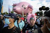 Taiwanese protest against the lifting of restrictions on US pork containing ractopamine feed additive in Taipei on November 22, 2020