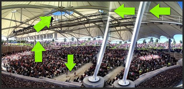 "Mitt Romney's presidential campaign may have given itself an audience boost with the help of some photo magic. A panoramic image posted by his campaign shows a large crowd gathered for a recent event in Nevada. The only problem, pointed out by Buzzfeed, is that the turnout looks to be increased via alterations. Look closely at the image, and it seems that the crowd section has been replicated near the support structure and the trees have been duped in the background. The central skylight area looks cloned, there is a bizarre ghosting at the top of the posts, the horizon drops near the center of the image, and an editing oversight left the ""Romney"" sign reading ""Romnmney"" instead."