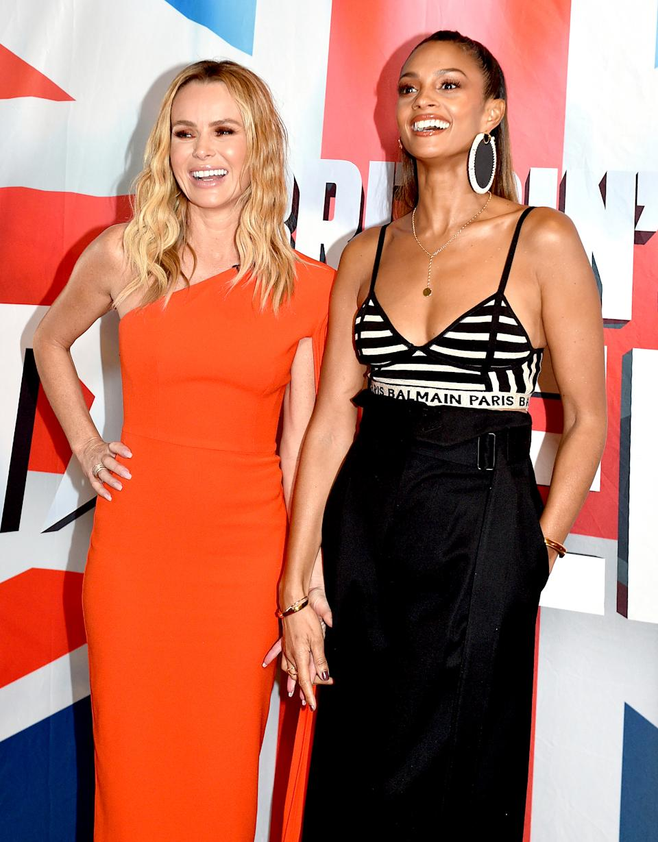 MANCHESTER, ENGLAND - FEBRUARY 06: Amanda Holden and Alesha Dixon during the 'Britain's Got Talent' Manchester photocall at The Lowry on February 06, 2019 in Manchester, England. (Photo by Shirlaine Forrest/Getty Images)