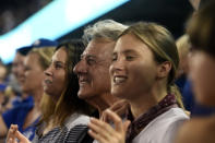 <p>Dustin Hoffman is seen cheering during Game 1 of the 2017 World Series between the Houston Astros and the Los Angeles Dodgers at Dodger Stadium on Tuesday, October 24, 2017 in Los Angeles, California. (Photo by LG Patterson/MLB Photos via Getty Images) </p>
