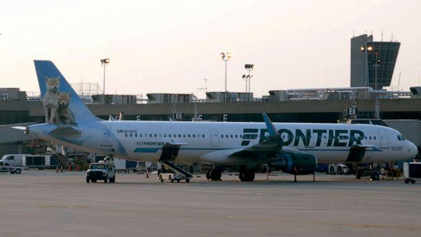 PHOTO: A Frontier Airlines jet at Philadelphia International Airport, June 1, 2018, in Philadelphia. (Daniel Slim/AFP/Getty Images, FILE)