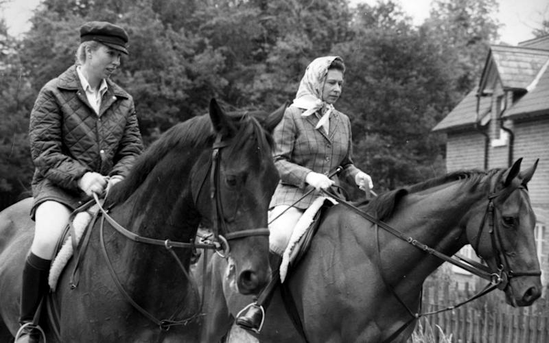 Princess Anne and The Queen riding together in 1975 - PA