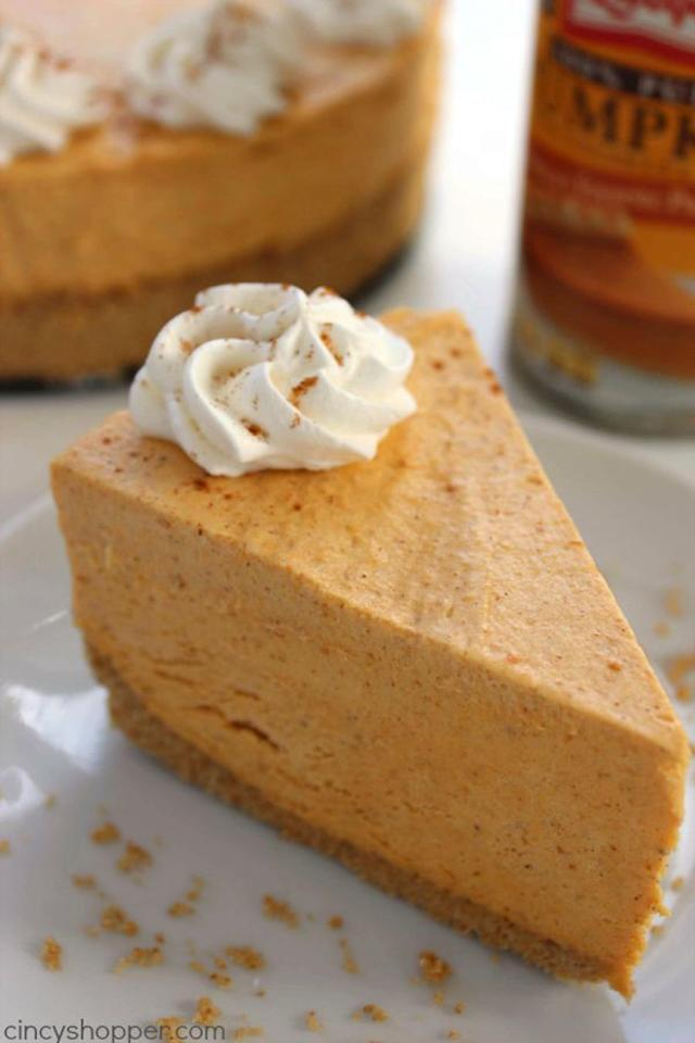 """Not a pie person? This <a href=""""https://cincyshopper.com/no-bake-pumpkin-cheesecake/"""" target=""""_blank"""">pumpkin cheesecake</a> might be right up your alley."""