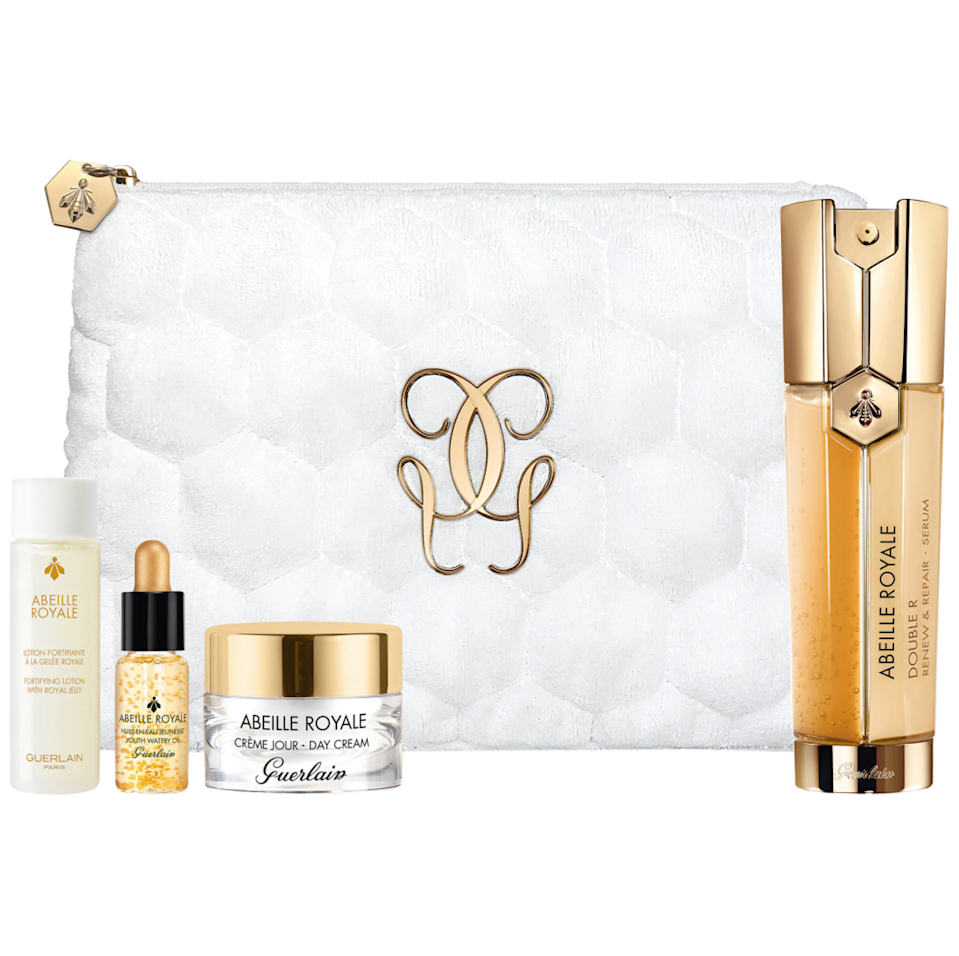 """<h2>Guerlain Abeille Royale Anti-Aging Double R Serum Set</h2><br>The only thing we want to steal from mom more than the four Guerlain formulas in this kit? The chic white pouch it comes with.<br><br><strong>Guerlain</strong> Guerlain Abeille Royale Anti-Aging Double R Serum Set, $, available at <a href=""""https://go.skimresources.com/?id=30283X879131&url=https%3A%2F%2Fwww.sephora.com%2Fproduct%2Fguerlain-abeille-royale-anti-aging-double-r-serum-set-P468366%3Ficid2%3Dproducts%2520grid%3Ap468366"""" rel=""""nofollow noopener"""" target=""""_blank"""" data-ylk=""""slk:Sephora"""" class=""""link rapid-noclick-resp"""">Sephora</a>"""