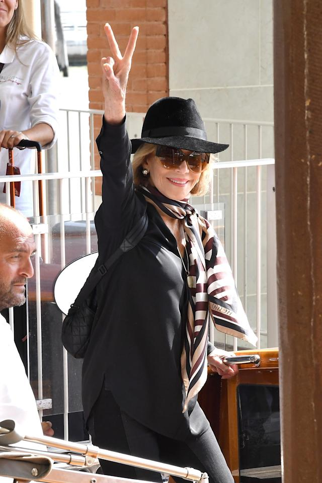 <p>In case you were wondering, 79-year-old Fonda has still got it! The <i>Grace and Frankie</i> star proved it when she stunned as she arrived at Italy's Venice Airport for the Venice Film Festival. (Photo: Jacopo Raule/GC Images,) </p>