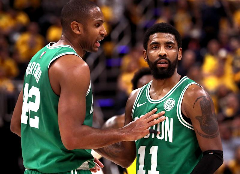 Neither Kyrie Irving nor Al Horford will wear green this season. (Getty)