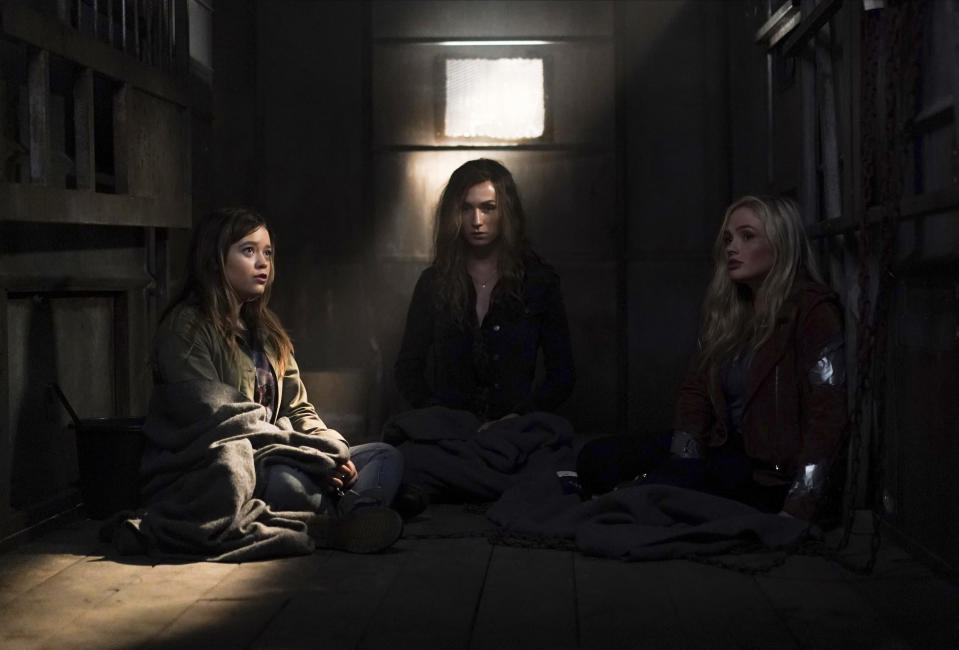 """This image released by ABC shows Jade Pettyjohn, from left, Jesse James Keitel and Natalie Alyn Lind in a scene from """"Big Sky."""" Native American tribes and coalitions are condemning """"Big Sky,"""" a Montana-set ABC drama, for ignoring the history of violence inflicted on Indigenous women and instead making whites the crime victims. (Darko Sikman/ABC via AP)"""