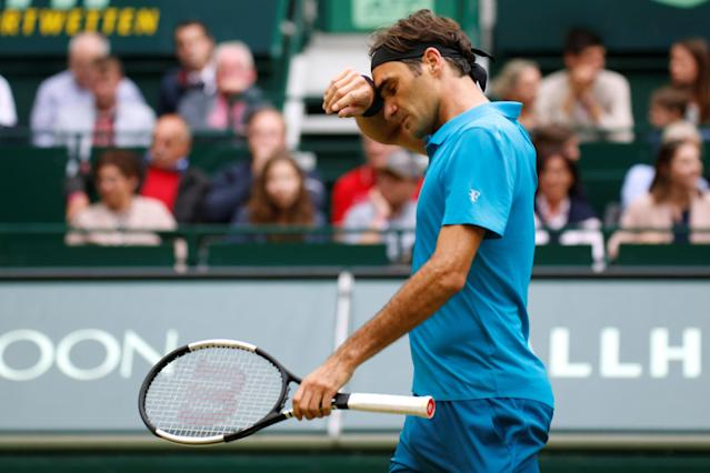 Tennis - ATP - Halle Open Finals - Gerry Weber Stadion, Halle, Germany - June 24, 2018 Switzerland's Roger Federer looks dejected during the final against Croatia's Borna Coric REUTERS/Leon Kuegeler