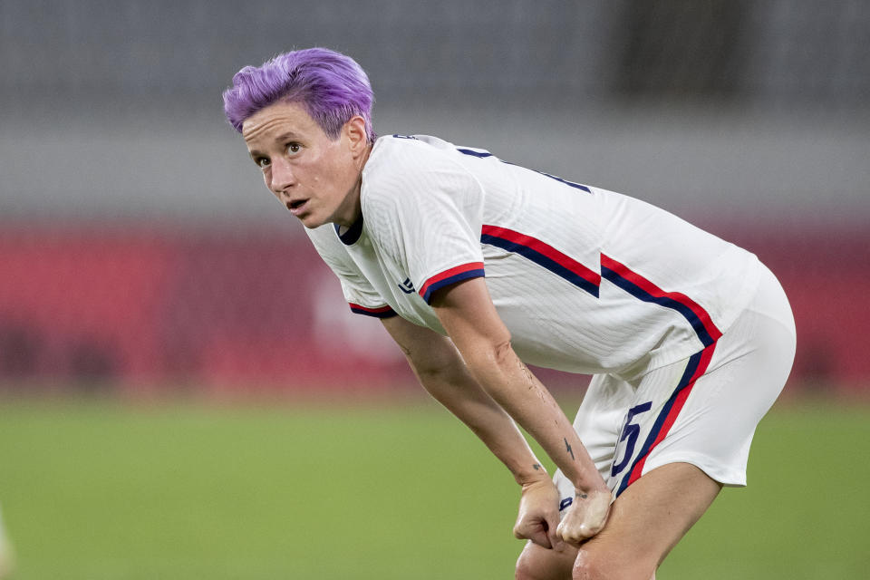 Megan Rapinoe #15 of the United States reacts during her sides 3-0 loss during the USA V Sweden group G match at Tokyo Stadium during the Tokyo 2020 Olympic Games on July 21, 2021 in Tokyo, Japan. (Photo by Tim Clayton/Corbis via Getty Images)