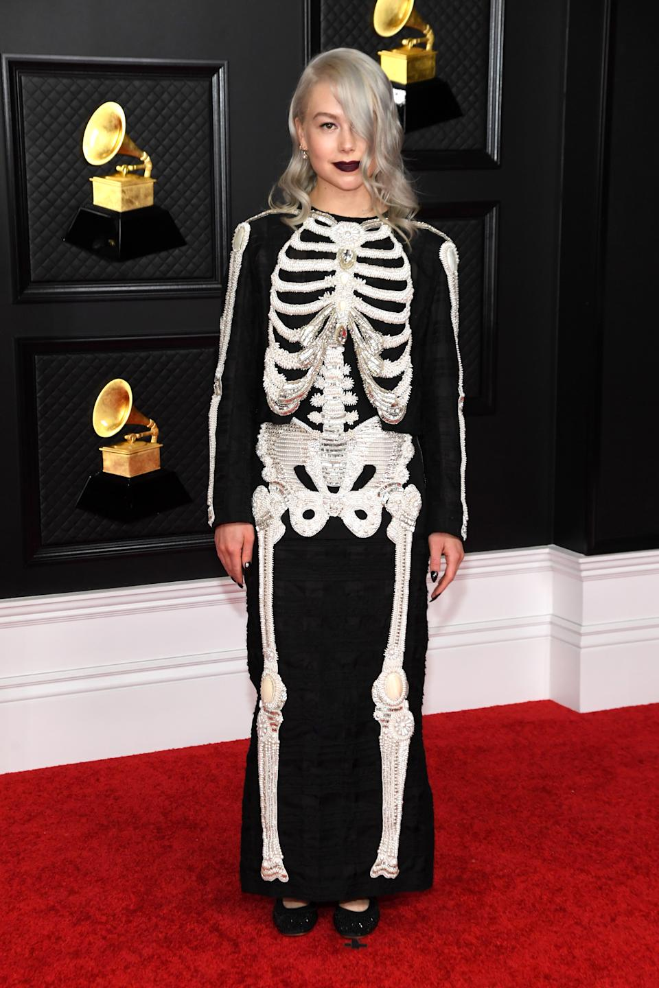 LOS ANGELES, CALIFORNIA - MARCH 14: Phoebe Bridgers attends the 63rd Annual GRAMMY Awards at Los Angeles Convention Center on March 14, 2021 in Los Angeles, California. (Photo by Kevin Mazur/Getty Images for The Recording Academy )