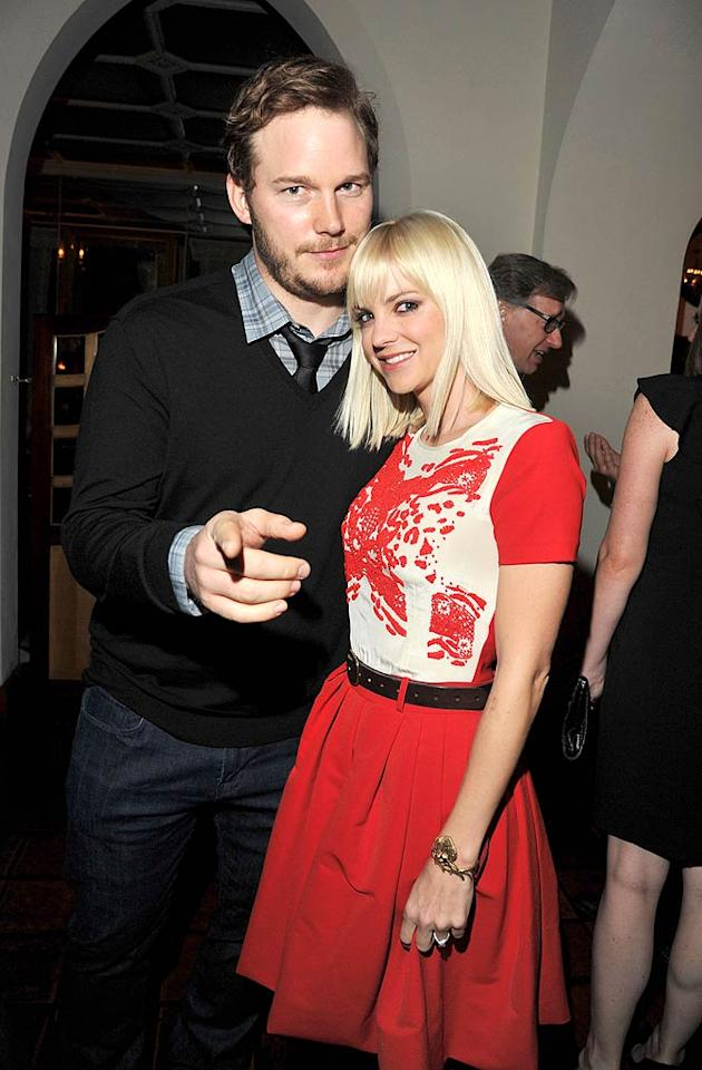 """What's Your Number?""actress Anna Faris accompanied her hubby, ""Parks and Recreation"" star Chris Pratt (who apparently never learned it's not polite to point!), to the soiree. (11/17/2011)"