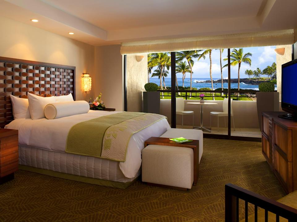 """<p><a href=""""https://www.cntraveler.com/hotels/united-states/waikoloa/hilton-waikoloa-village--big-island?mbid=synd_yahoo_rss"""" rel=""""nofollow noopener"""" target=""""_blank"""" data-ylk=""""slk:Hilton Waikola Village"""" class=""""link rapid-noclick-resp"""">Hilton Waikola Village</a> on the Big Island has it all: an ocean-fed lagoon, three pools with waterfalls, two championship golf courses, 20,000 square feet of shops, eight restaurants, and mahogany canal boats and a tram to zip guests around the sprawling property (the latter are a real treat for kids fascinated by boats and trains). As if that weren't enough to keep you busy, the activities schedule is packed with performances and interactive experiences. The Legends of Hawaii Luau show, which runs several nights a week, combines storytelling, singing, and a traditional fire knife dance. Or, head to the dolphin lagoon, where marine specialists will guide guests through swims with the resident dolphins. For adults who just need an afternoon off, make a beeline for the Kohala Spa, which offers locally inspired treatments (think exfoliations using volcanic pumice stone), or plop down at the adults-only pool.</p> <p><strong>Book now:</strong> From $204 per night, <a href=""""https://cna.st/affiliate-link/5uAfuPMyweriuheq21ShWJ28Du36MiQou2iguHH2Zh3Pc5WMtBXFxQB22aWvqDBQxspHNwpvBU9FkyR4qTYGccQA3t972QxofEpfpfUx16HUa6dGFen6okbAohoEm2zL7pou6Koj4X1zdP1qG1hLnD6eBavS4d5F?cid=5509909aa15a49046da9a366"""" rel=""""nofollow noopener"""" target=""""_blank"""" data-ylk=""""slk:expedia.com"""" class=""""link rapid-noclick-resp"""">expedia.com</a></p>"""